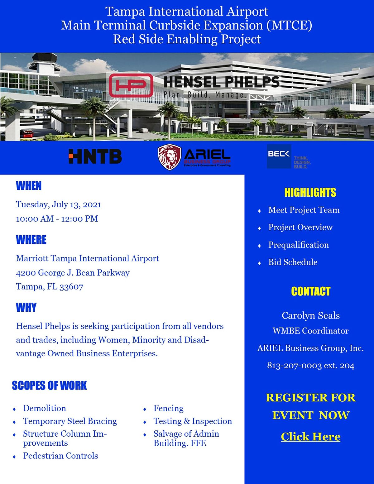 Hensel Phelps - TPA Red Side Project Information Outreach Event (In Person)