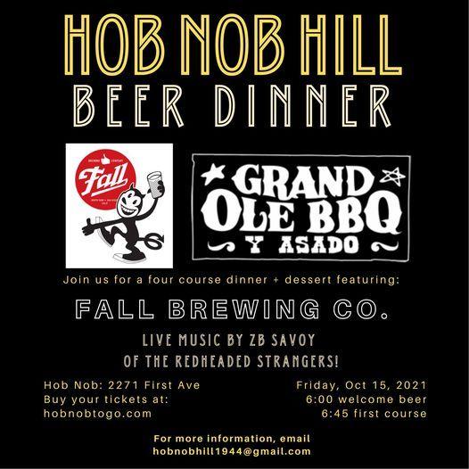 Inaugural Hob Nob Beer Dinner