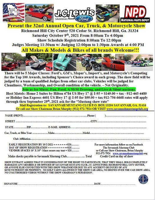 Savannah Mustang Club 32nd Annual Open Car, Truck, & Motorcycle Show, Richmond Hill GA