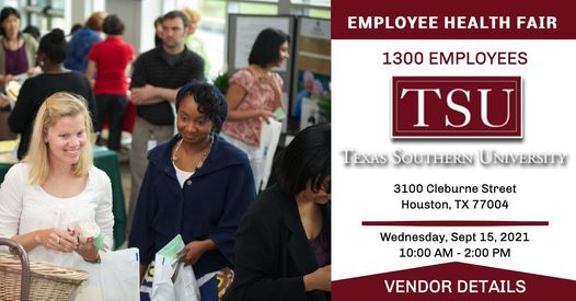Texas Southern University Health Fair - REGISTER YOUR BOOTH!