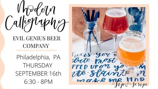 Modern Calligraphy at Evil Genius Beer Company!