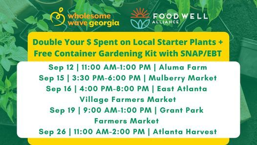 Georgia Plant 2 Plate Pop-Up: Double Your Dollars on Fruit & Vegetable Plants with SNAP\/EBT