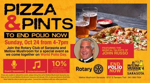 Pizza & Pints to End Polio Now at Mellow Mushroom