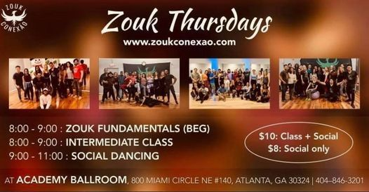 Brazilian Zouk Classes and Social  Thursday
