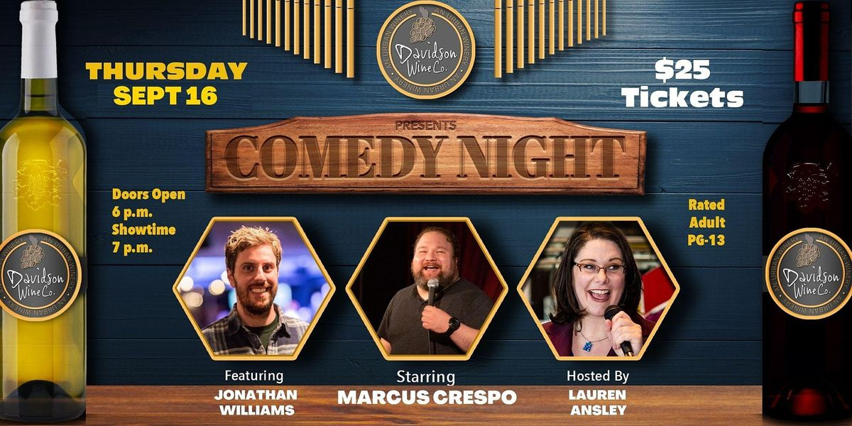Comedy Night at Davidson Wine Co. \u2013 A Beerly Funny Production