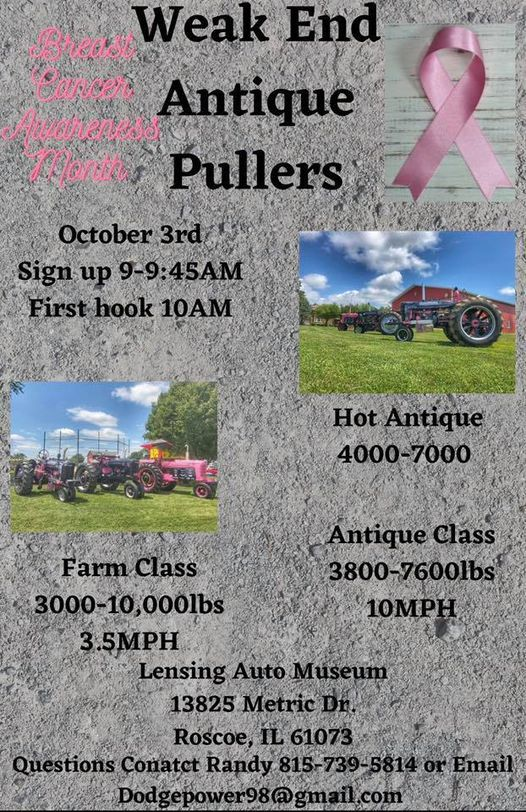 October 3rd Antique Tractor Pull make up event
