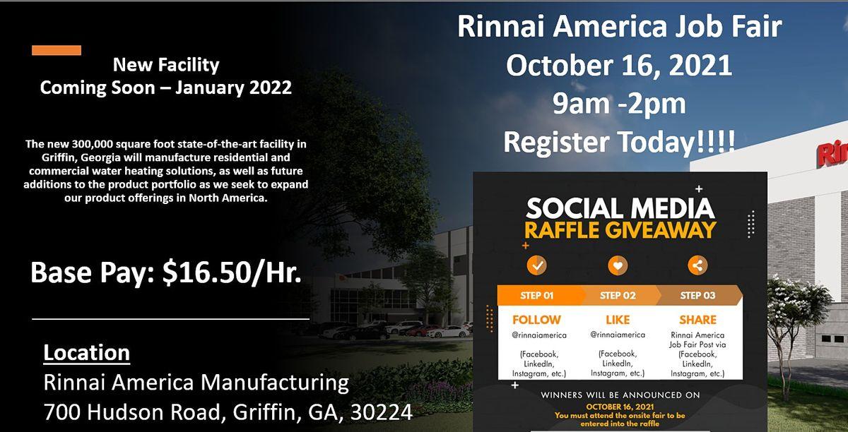 Rinnai America Job Fair -  Manufacturing\/Distribution