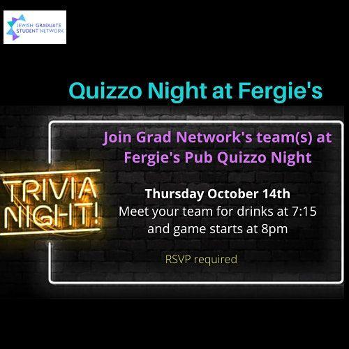 Grad Network Quizzo Night at Fergie's Pub