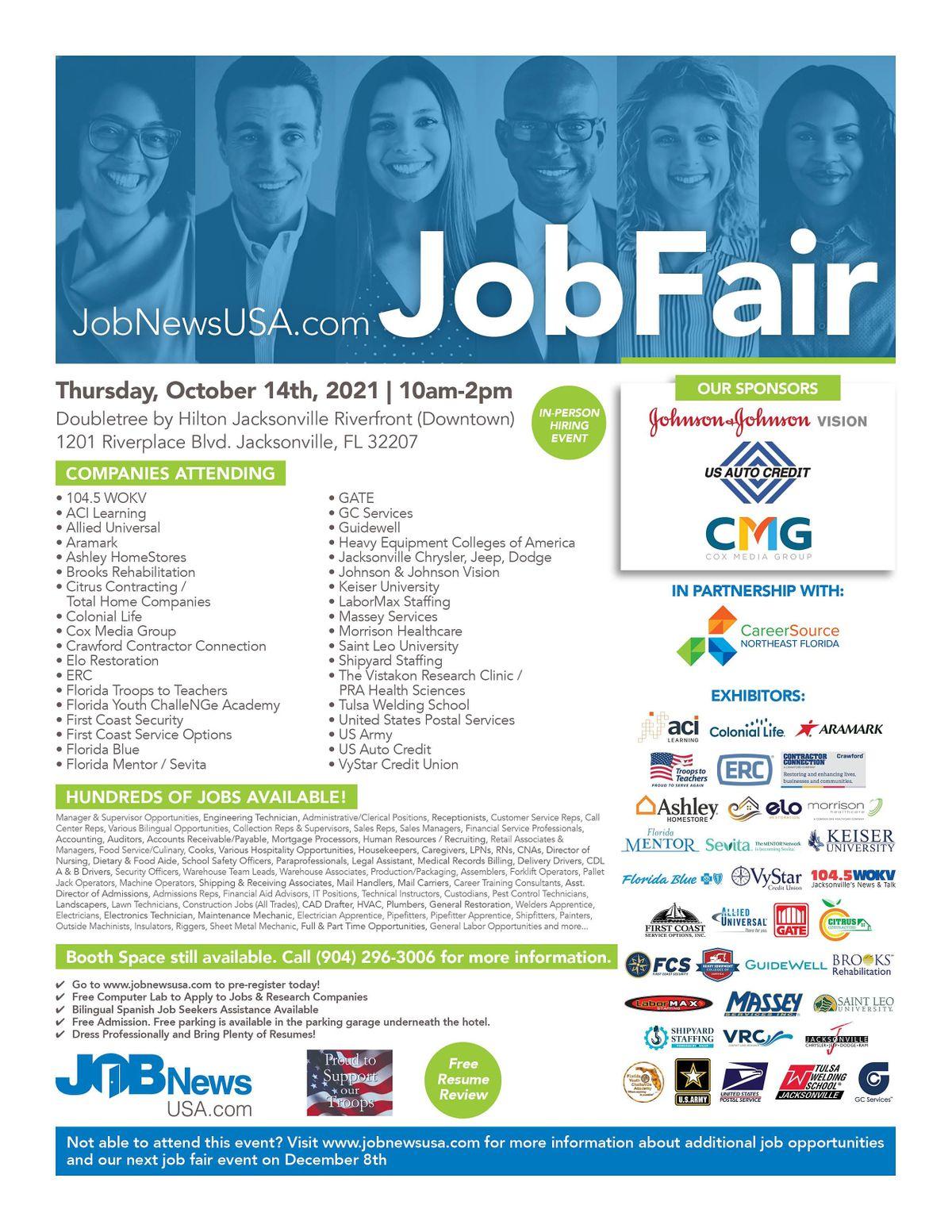 Jacksonville Job Fair - 30+ Companies Hiring for OVER 1,000 JOBS