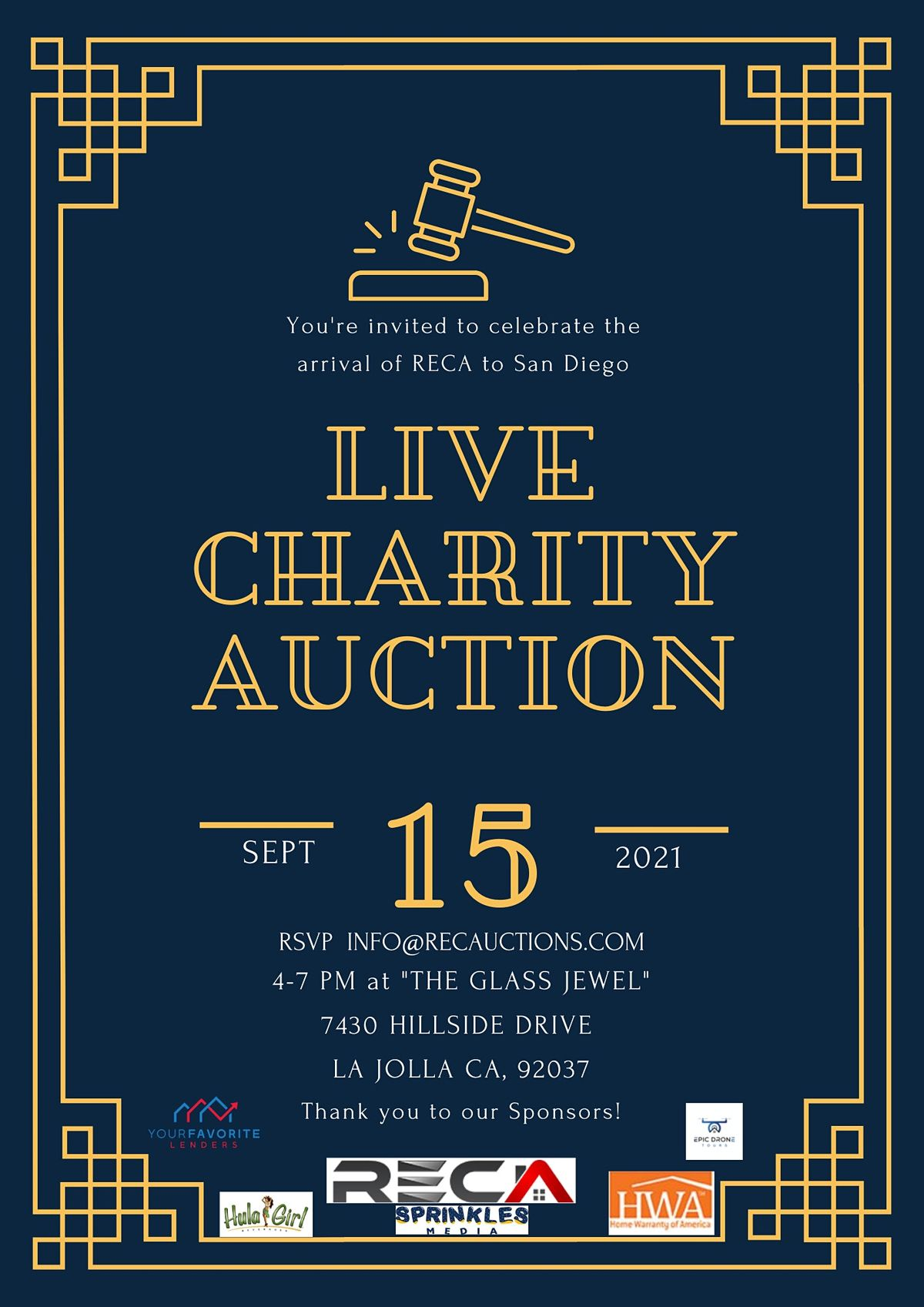 The Arrival of RECA  to San Diego  - Live Charity Auction