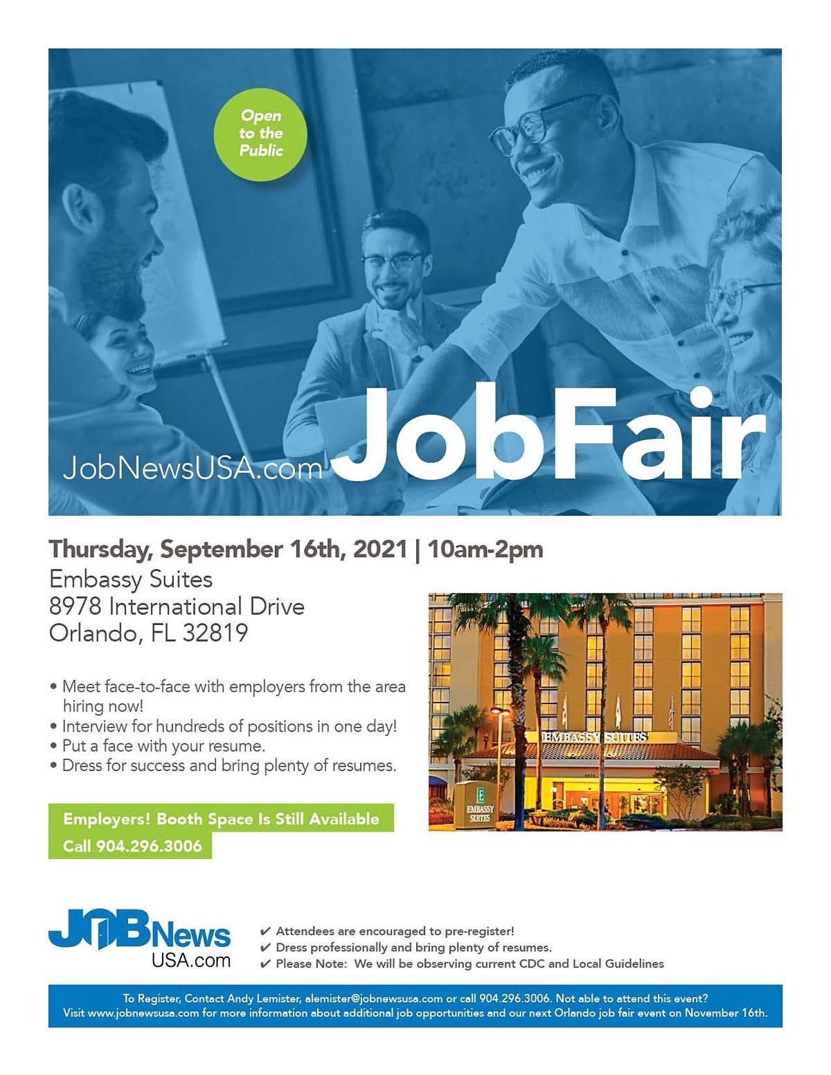 Orlando Job Fair - 100's of Jobs Available on September 16th