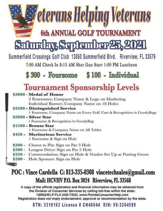 Veterans Helping Veteran 6th Annual Golf Tournament