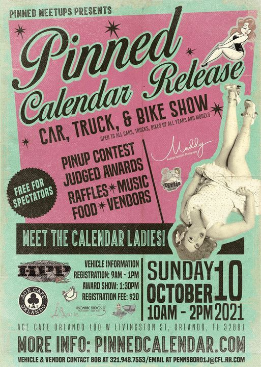 PINNED 2022 Calendar Release Party, Pinup Contest, & Car Show!