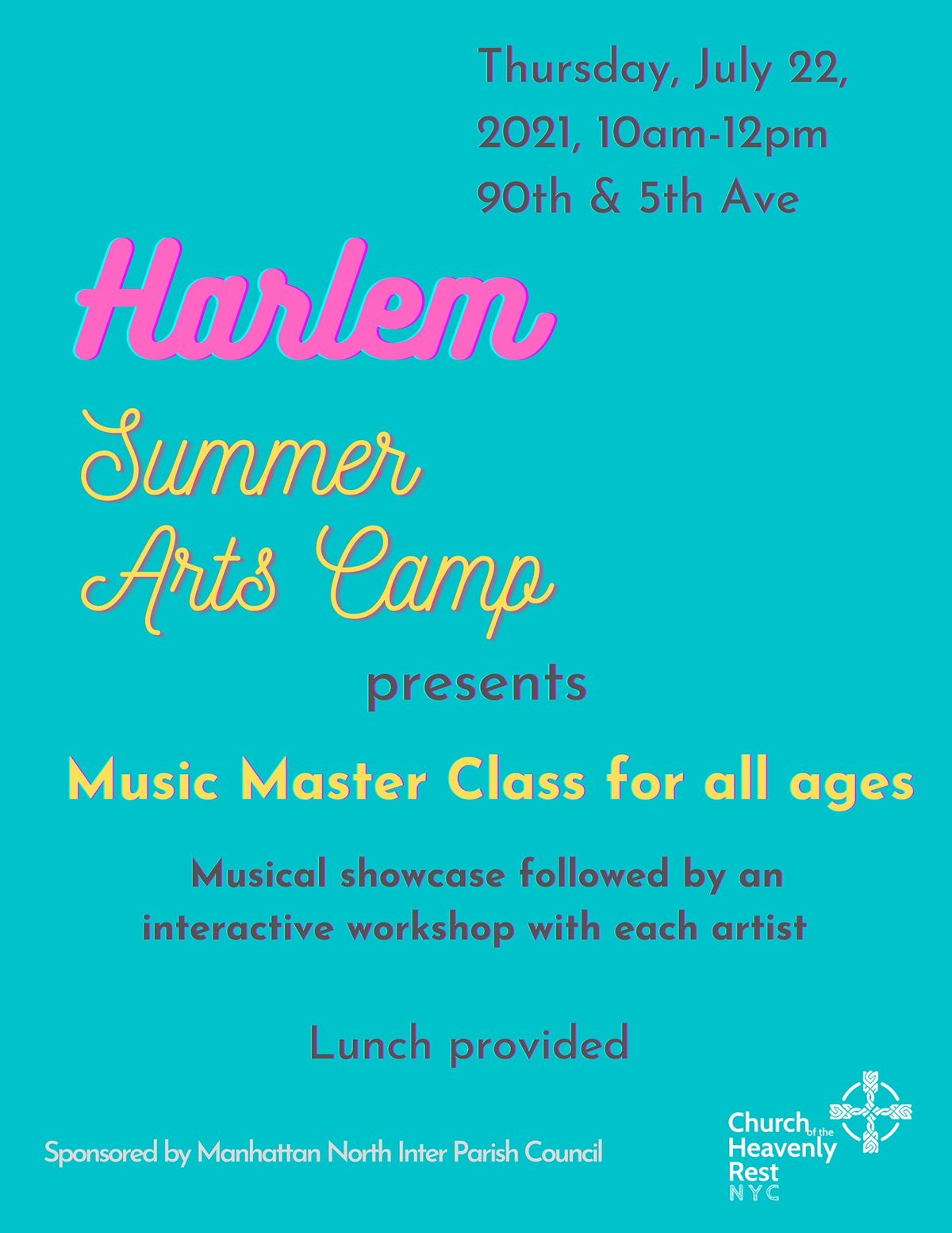 Harlem Summer Arts Music Master Class for all ages