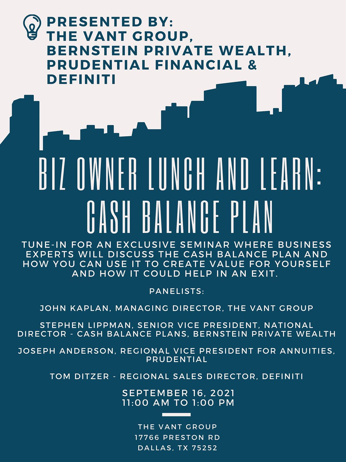 Biz owner Lunch and Learn: Cash Balance Plan