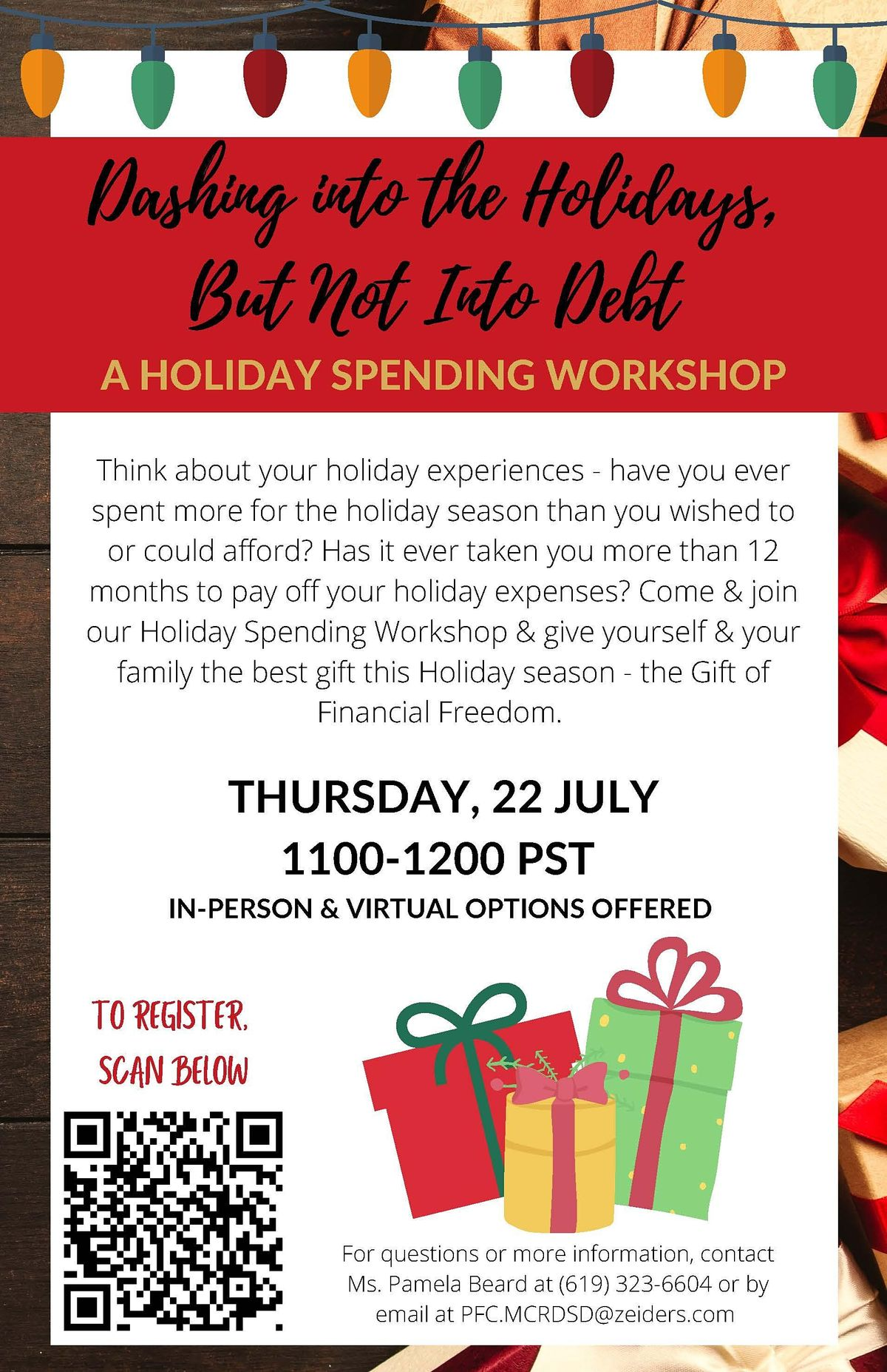 Dashing Into the Holidays... But Not Into Debt (Holiday Spending Workshop)
