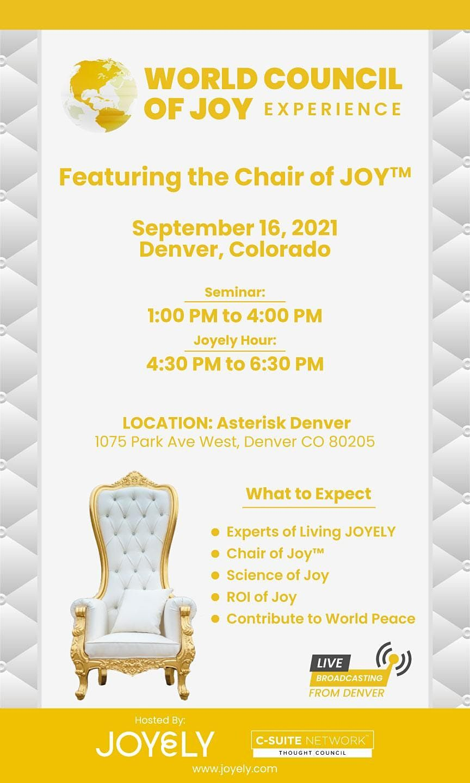 Denver - September 16- The World Council of Joy Presenting!