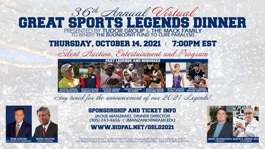 36th Annual Virtual Great Sports Legends Dinner