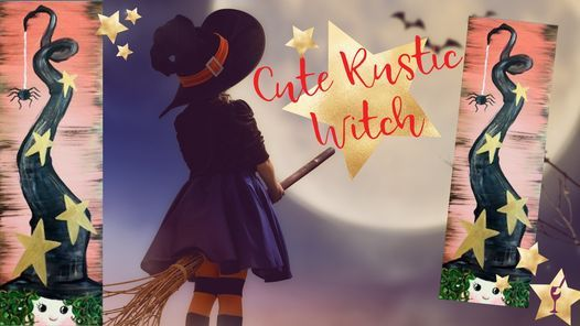 Cute Rustic Witch & 1\/2 Off Wine Bottles
