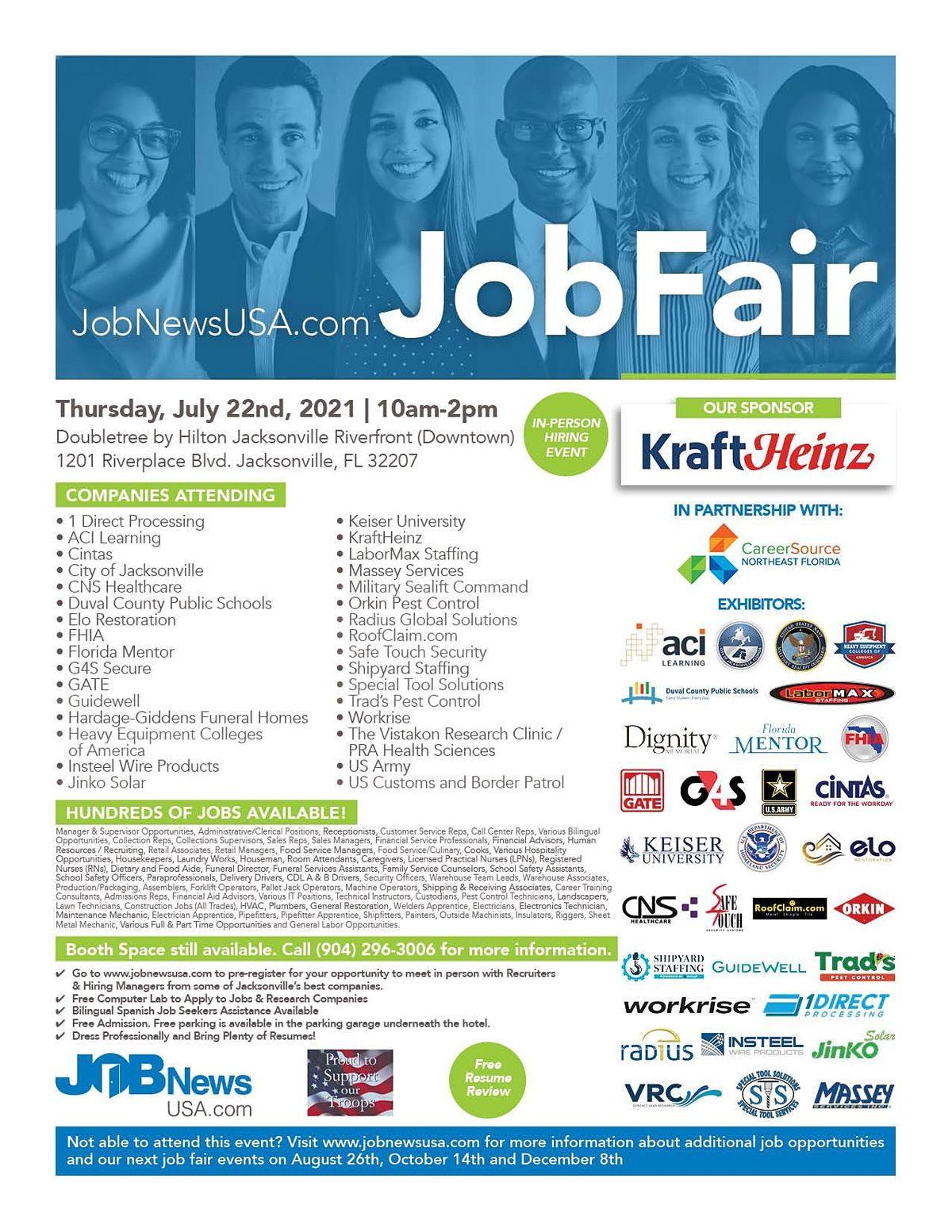 500+ Jobs -- 30+ Companies at the July 22nd Jacksonville Job Fair **