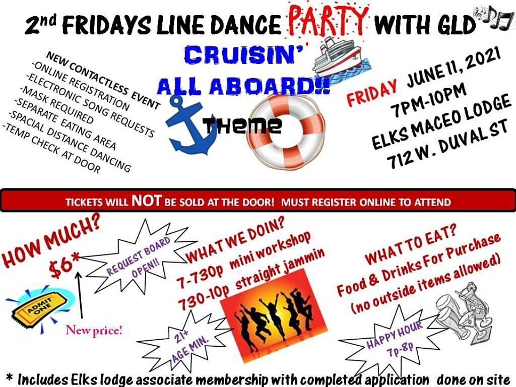 """GLD's 2ND FRIDAY LINE DANCE PARTY """"CRUISIN ALL ABOARD!"""""""